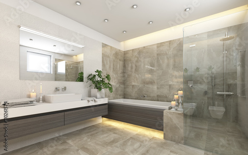Bright Bathroom In Grey With Candels