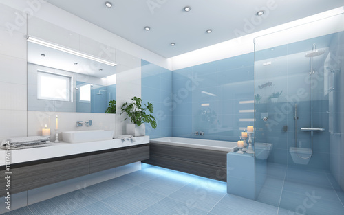 Bright Bathroom In Blue