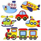 Fototapety Set of cartoon transport icon. Car, submarine, ship, plane, train, helicopter