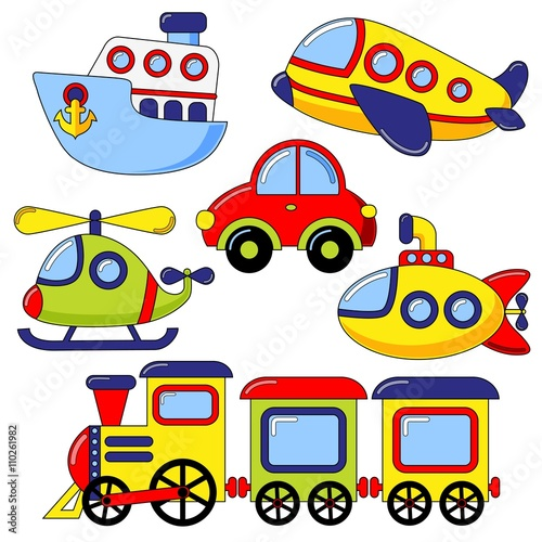 Naklejka Set of cartoon transport icon. Car, submarine, ship, plane, train, helicopter