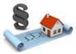 Bauplan mit Haus und Paragraf als Symbol für Bauvorschriften