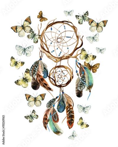 Fotobehang Vlinders in Grunge Watercolor ethnic dreamcatcher.