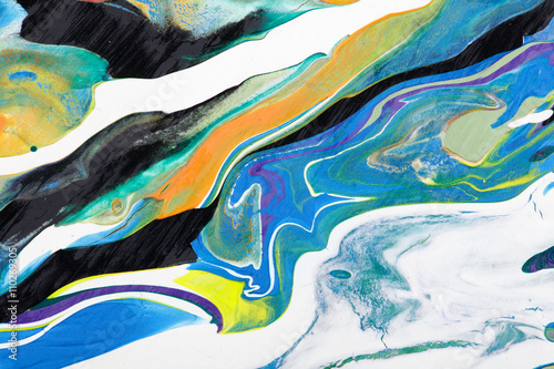 Closeup view of an original acrylic painting on wood. Hand painted abstract grunge background.  Multicolored texture. Fragment of artwork, modern art, contemporary art. Stains, spray paint.  - 110269305
