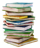Fototapety watercolor stack of books