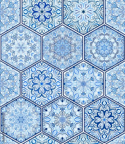 Fototapeta Indigo Blue Tile