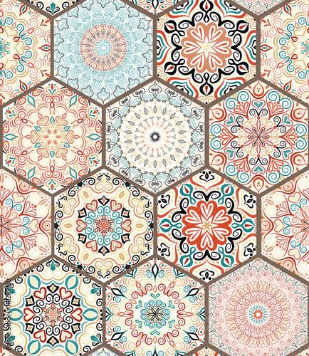 Fototapeta Rich Hexagon Tile Ornament