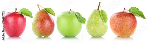 Apfel Frucht Birne Birnen Äpfel Früchte Obst in einer Reihe Fr - 110291722