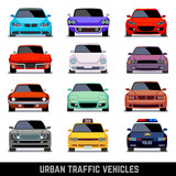 Fototapety Urban traffic vehicles, car icons in flat style. Model car, police car and vehicle urban car. Vector illustration