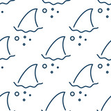 Shark fin in water waves seamless pattern. Flipper of fish in the sea white and blue background surface in outline style.