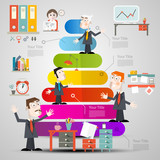 Vector Infographic Layout. Infographics Template. Businessmen Graph with Colorful Papers. Office Items Icons.