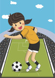 Illustration of a female soccer football player