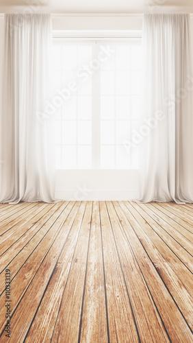 Finestra con tende in stanza grande - 110333139