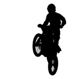 Fototapety silhouette of motocross rider jump isolated on white background