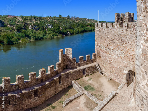 Interior of the Templar Castle of Almourol and Tagus river Poster