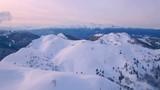 Flying over mountain range