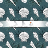 Seashells vector seamless pattern with algae, corals in different forms turquoise background. Sea life, underwater isolated hand drawn concept illustration.