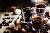Black coffee, ground coffee, robusta coffee beans, steel Italian