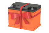 battery car with bow and ribbon, gift concept. 3D rendering