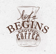 Poster liquid coffee brown