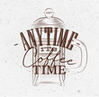 Poster its coffee time brown