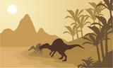 Spinosaurus in river silhouette scenery