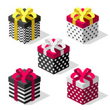 Set of colorful gift boxes with bows and ribbons. Vector isometric. Present for happy event. Create your amazing combination.