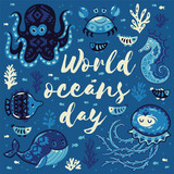 World oceans day. Card with cute animals in nautical style