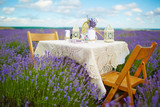 Table decoration in lavender flowers.