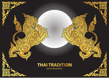 lion thai tradition style vector