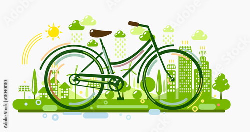 Bicycle with green city - 110401110