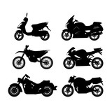 Fototapety Set of black silhouettes of motorcycles on a white background
