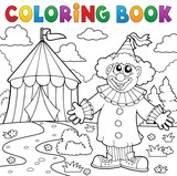 Coloring book clown near circus theme 6