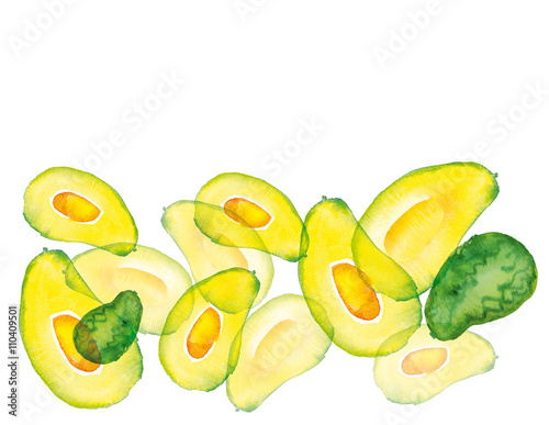 watercolour hand iluustration of avocado fruit плакат