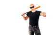 Violence and aggression concept - furious screaming angry man hand holding baseball sport bat
