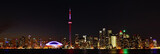 Fototapeta Panoramic view of the skyline of Toronto, Canada, at night