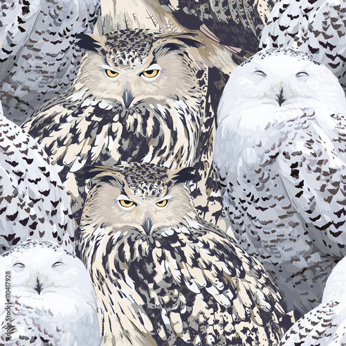 Cotton fabric seamless pattern of eagle owl and polar owl