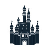 Castle icon. Palace design. Flat illustration, vector