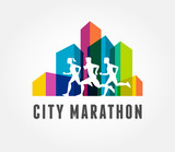 Running marathon in city, icon and symbol with ribbon, banner