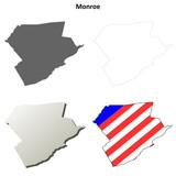 Monroe County, Pennsylvania outline map set
