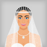 beautiful smiling bride in veil
