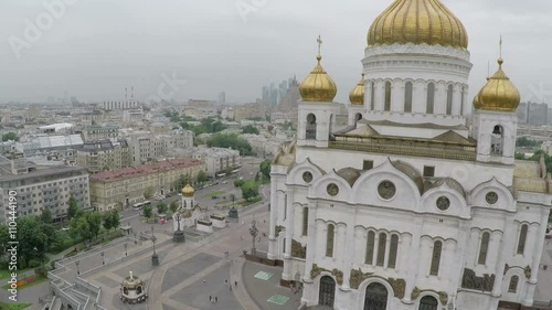 Zdjęcia na płótnie, fototapety, obrazy : Aerial shot of grand building of Cathedral of Christ the Saviour. Famous Orthodox Christian church and Moscow view