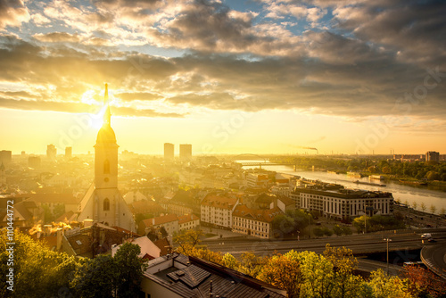 Plagát, Obraz Bratislava cityscape view on the old town with Saint Martin's cathedral tower fr