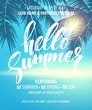 Hello Summer Party Flyer. Vector Design