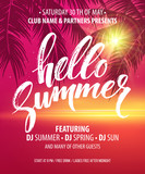 Fototapety Hello Summer Party Flyer. Vector Design