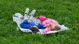 Child happy outdoors.