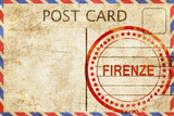 Firenze, vintage postcard with a rough rubber stamp - 110454108