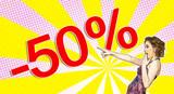 Pop art pin-up girl sale concept