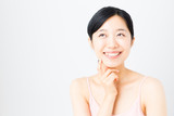 attractive asian woman skincare image on white background