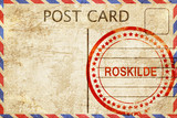 Roskilde, vintage postcard with a rough rubber stamp