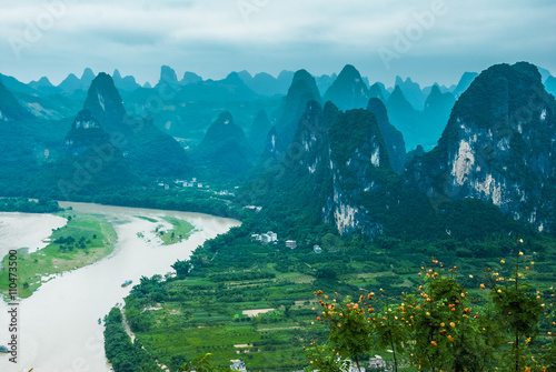 Fototapeta Beautiful karst mountains and river scenery
